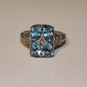 Ring sterling silver blue stone sz.9